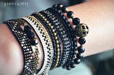 Zigzag Bracelet Bronze and Silver // Hippie Bohemian by Gomeow