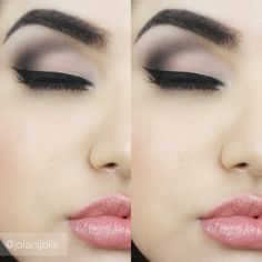 subtle shades of black and grey in the eyes, with a pale, neutral lip