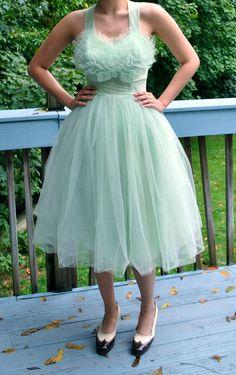 Vintage 1950s Tulle Mesh Prom Dress / Mint Green Dress / Ballerina Skirt / 50s Dress / Size S. $349.00, via Etsy.