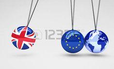 Brexit efecto y consecuencias concepto global de negocio con la Union Jack, la bandera de la UE sobre las bolas y mapa del mundo globo ilustración 3D.