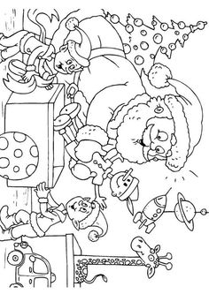 Coloring page Santa Claus with elves - img 23389.