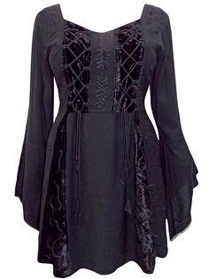 fff581bf299ab eaonplus BLACK Embroidered Renaissance Gothic Corset Tunic Top - Plus Size  18 20 Gothic Corset
