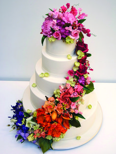 Classic White Wedding Cake with Bright Florals