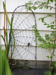 Spider Spinning A Web Barbed Wire Garden Trellis par thedustyraven