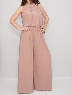 Blush pink jumpsuit, halter top jumpsuit, wide leg jumpsuit - Jumpsuits and Romper Brown Jumpsuits, Jumpsuits For Women, Pink Jumpsuit, Halter Jumpsuit, Elegant Jumpsuit, Petite Jumpsuit, Palazzo Jumpsuit, Jumpsuit Outfit, Floral Jumpsuit