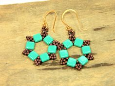 Turquoise and Bronze Seed Bead Hoops (E69) by ClassyBeadsandBangle on Etsy
