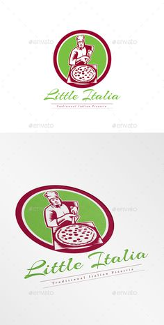 Little Italia Pizza Logo. Logo showing illustration of a baker pizza maker holding a pizza peel viewed from front set inside circl