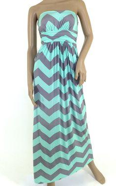 Chevron Maxi Dress Mint & Gray Chevron by BleuClothingBoutique