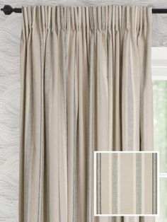 Samson is a natural stone/oatmeal coloured, lightweight, 100% cotton fabric with subtle woven stripes in cream and black. The fabric is designed to have a linen look and feel. Made right here in the UK, all our ready made curtains are available in unique extra long and extra wide sizes and with a thermal blackout lining option.