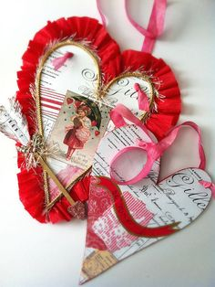Valentine Hearts by born 2 b creative, via Flickr. Handmade valentines using collaged papers and glitter for Valentine's Day.