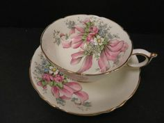 Paragon Stunning Teacup & Saucer Flowers and Ribbons Pink Double Backstamp