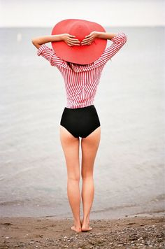 Pin stripes and a black bikini