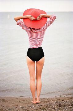 Pin stripes and a black bikini
