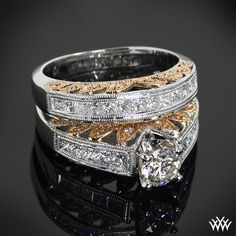 """18k White and Rose Gold """"Delicate Blush"""" Diamond Engagement Ring and Wedding Ring #whiteflash #verragio"""