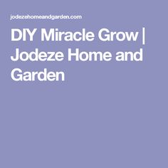 DIY Miracle Grow | Jodeze Home and Garden