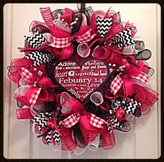 Valentine Red Black and White Heart Deco Mesh by CKDazzlingDesign