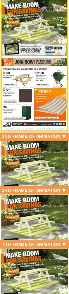 Home Depot >> sent 7/26/12 >> Get $5 Off $50 + The Download on Fresh Outdoor Projects >> Animated gifs are a fantastic way to demonstrate a product or process. In this email, Home Depot uses one to show how you can makeover an outdoor space, complete with catalog-style numbering to refer to the products used. –Chad White, Principal of Marketing Research