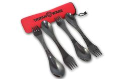 TRITANWARE 4 PortableTitanium Polished Stainless Steel Sporks Set With Spork Case- Extremely Strong Food Grade Stainless Titanium polished Steel Sporks