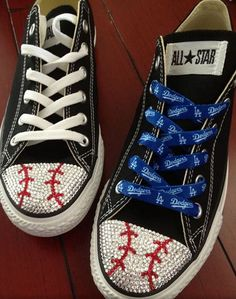 Show your team spirit with these!!  Baseball Blinged Converse by TeamMomBling on Etsy, $125.00  #teammombling