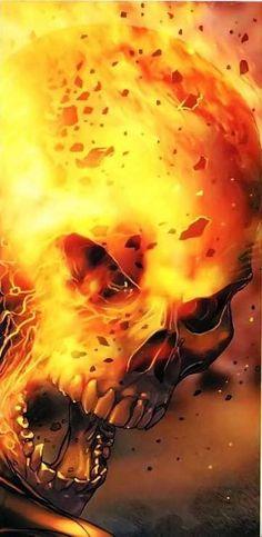 Flaming angry Skull