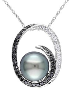 10K White Gold 9-9.5mm Black Tahitian Pearl & Black & White Diamond Pendant Necklace