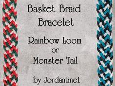 New Basket Braid Bracelet - Rainbow Loom or Monster Tail tutorial by Rainbow Loom Tutorials, Rainbow Loom Patterns, Rainbow Loom Creations, Rainbow Loom Bands, Rainbow Loom Charms, Rainbow Loom Bracelets, Loom Band Bracelets, Braided Bracelets, Leather Bracelets