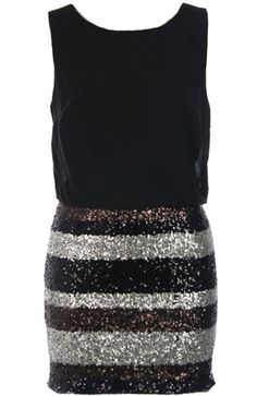 Money Maker Dress: Features a solid black chiffon bodice with a rear ladder-back cutout design, striped multi-toned sequin skirt for glamorous contrast, and a centered rear zip closure to finish. Only Fashion, Love Fashion, Fashion Outfits, Womens Fashion, Little Dresses, Pretty Dresses, All About Fashion, Passion For Fashion, Preppy Style