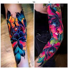 Colored Tattoo Design, Floral Tattoo Design, Tattoo Designs, Bright Tattoos, Bright Colorful Tattoos, Colorful Sleeve Tattoos, Sleeve Tattoos For Women, Vine Tattoos, Body Art Tattoos