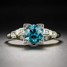 Vintage Two-Tone Gold Blue Zircon Ring