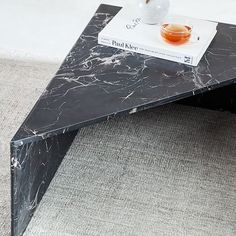 Like pieces of a puzzle, these marble tables can be arranged together as a side table or a staggered coffee table. Tall Table, Black Side Table, West Elm, Side Tables, Marble, Canning, Color, Home Decor, High Bar Table
