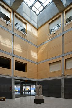 Louis Kahn. Yale Center for British Art, New Haven, Ct. 1966 Was lucky enough to spend a lot of time in this beautiful building-four simple materials-glass, concrete, pear wood and travertine mable
