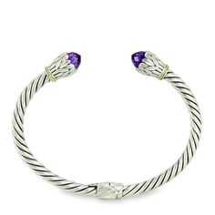 Amethyst Twisted Cable Sterling Silver Bangle with 18K Gold Accents | Cirque Jewels