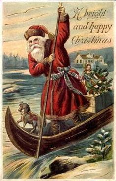 Santa sometimes has to resort to a canoe.