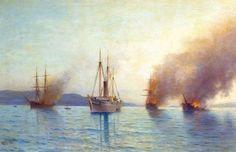 Lev Lagorio - Russian torpedo boat tender Grand Duke Konstantin destroying the Turkish ships at Bosphorus (1877)