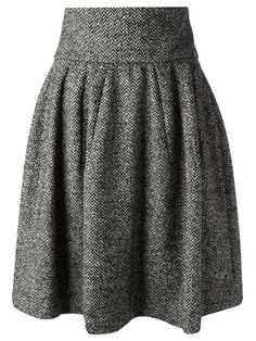 Grey a-line skirt from Dolce & Gabbana featuring a high waist, a rear zip fastening, a pleated skirt, a mid-length and a straight hem. £252.50 by farfetch