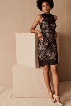 Burke Dress from BHLDN - - A chic, high neckline and sheer details complete this elegant sheath dress in graphic lace. Source by freefattav Elegant Summer Dresses, Formal Dresses For Teens, Elegant Dresses For Women, Casual Dresses, Dress Summer, Formal Gowns, Rental Wedding Dresses, Cheap Wedding Dress, Pink Prom Dresses