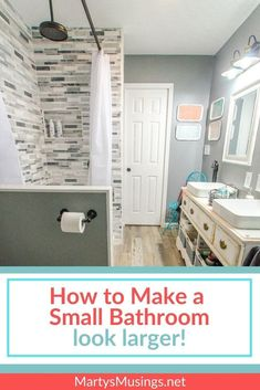 How to Make a Small Bathroom Look Larger : 7 Tips and Tricks! Are you struggling with an ugly bathroom with little storage space? These 7 tips will show you how to make a small bathroom look larger AND more beautiful! Small Bathroom Storage, Storage Spaces, Small Bathrooms, Walk In Shower Designs, Bathroom Inspiration, Bathroom Ideas, Bathroom Inspo, Master Bathroom, Diy On A Budget