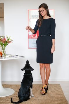Fashion writer Cotton Codinha (and Darcy) in MM.LaFleur. Photo by Frances F. Denny. #ampersandwomen