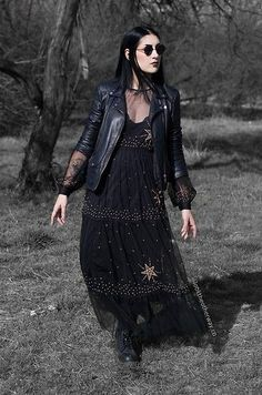 Ellone Andreea - Pull & Bear Faux Leather Jacket, H&M Lace Bralette, H&M Starry Dress, Meli Melo Paris Round Sunglasses, Dr. Witch Fashion, Dark Fashion, Gothic Fashion, Boho Fashion, Vintage Fashion, Petite Fashion, 80s Fashion, Fashion Fall, Hippie Goth