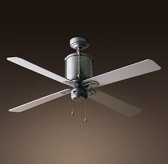 Ceiling fans restoration hardware whitewashed oak blades rhs industry ceiling fanthe retro chic of galvanized steel cloaks the updated workings of our silent fan industry fan from restoration hardware aloadofball Image collections