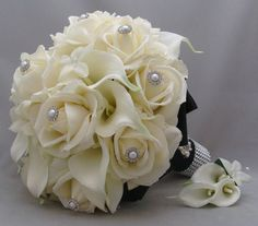 Real Touch Bridal Bouquet Stephanotis Roses Calla Lilies in Black and White & Grooms Boutonniere - Customize for Your Colors via Etsy Small Bridal Bouquets, Bridal Bouquet Blue, Calla Lily Bouquet, Rose Wedding Bouquet, White Wedding Bouquets, Bridesmaid Flowers, Bridal Flowers, Calla Lilies, Lily Wedding