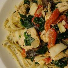Spence's Pesto Chicken Pasta - great for leftover chicken - will eliminate artichoke hearts to make it more kid friendly.