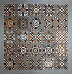 Crossroads quilt in greys, taupes and browns at Homestead Hearth - pattern and kit