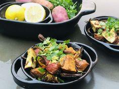 Lemony Mustard Roasted Kūmara & Baby Vegetables Garlic Roasted Vegetables, Roasted Vegetable Salad, Kumara Recipes, Vegetables For Babies, Tray Bakes, Cooking Time, Potato Salad, Mustard, Pork