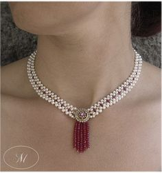 Gorgeous Woven Pearl Necklace with Antique Brooch and Ruby Tassle - Decadent woven seed pearl necklace with faceted gold beads, antique diamond brooch and ruby tassle. Perfect for a bride looking for old world elegance on her wedding day. By Marina J Jewelry