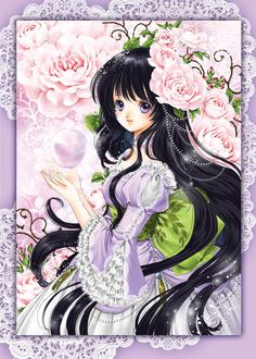 Chalcedony princess with long black hair, violet eyes, pink flowers, & purple Rococo dress by manga artist Shiitake.