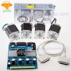 4Axis motor paso a paso Nema 23 Kit 287oz-in 4Axis Tarjeta de Controladores de potencia 200W/24V CNC