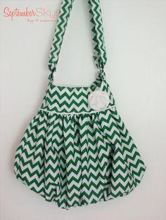 Flouncy Bag - Green Chevron - Handbag
