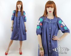 Hey, I found this really awesome Etsy listing at https://www.etsy.com/listing/227512986/vintage-70s-chambray-strawberry-dress-xl