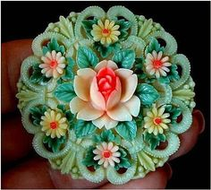 GENUINE Art Deco CELLULOID Brooch Rose & Daisy FLOWERS Signed Japan from yearsafter on Ruby Lane